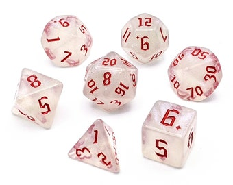Ice Crystal Red Dice Set   7pc Acrylic Polyhedral Dice Set for Tabletop Role Playing Games such as Dungeons and Dragons (DnD, D&D)