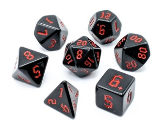 Onyx Red Dice Set   7pc Acrylic Polyhedral Dice Set for Tabletop Role Playing Games such as Dungeons and Dragons (DnD, D&D)