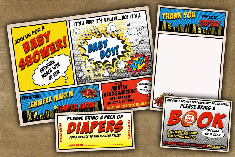 photo regarding Free Printable Superhero Baby Shower Invitations named Superhero Child Shower Invitation - Customizable Comedian E-book Kid Shower - Your self Print - Do it yourself Electronic History OR We Print For On your own