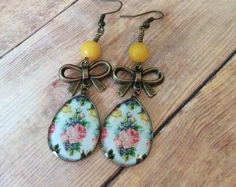 Flower Earrings, Floral Earrings, Boho Chic, Feminine Jewelry For Her, , Dangle Earrings, Sanddollarhandmade