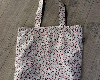XXL shopper bag pepper reversible shoulderbag  chilipepper shoppingbag beachbag sportsbag yogabag schoolbag spicy red pepper