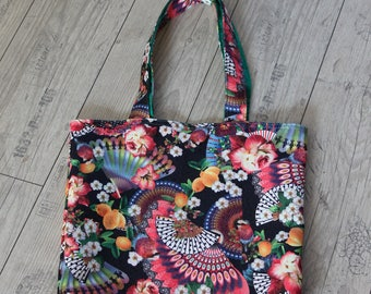Shopper bag reversible shoppingbag beachbag sportsbag yoga bag spanish mexican mediterranean bohemian boho handfan orange