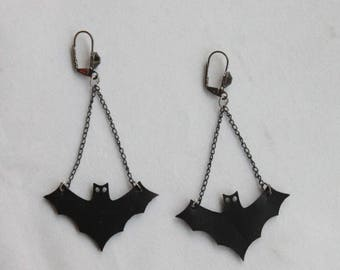 Earrings Halloween Gothic bat bats spooky horror thriller scary black with cabochon, grunge, punk, psychobilly