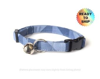 "Blue Gray Cat Collar |  Breakaway Cat Collar | Slate Gray Geometric | Standard Size | Adjustable from 7-11"" | READY TO SHIP"