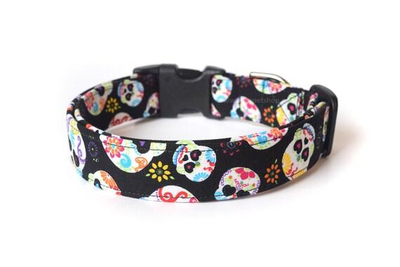 Sugar Skull Dog Collar, Dia de los Muertos Dog Collar, Designer Dog Accessories, Pet Accessories, Adjustable Fabric Collar, Calavera Skulls