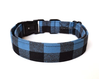 Blue Buffalo Plaid Dog Collar, Blue Plaid Dog Collar, Designer Dog Accessories, Pet Accessories, Adjustable Fabric Collar, Plastic or Metal