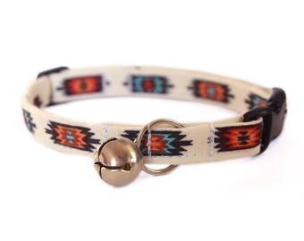 Tribal Cat Collar, Breakaway Cat Collar, Southwestern Cat Collar, Cute Cat Accessory, Pet Accessory, Fabric Cat Collar, Designer Cat Collar