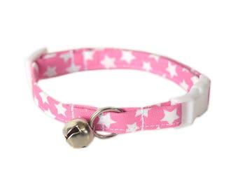 Pink Cat Collar, Breakaway Cat Collar, Starry Cat Collar, Cute Cat Accessories, Pet Accessories, Fabric Cat Collar, Modern Designer Cat