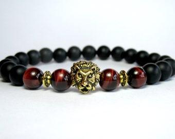 Mens Lion Bracelet, Red Tiger Eye Bracelet, Onyx Bracelet, Stretch Bracelet, Gemstone Bracelet, Mens Beaded Bracelet