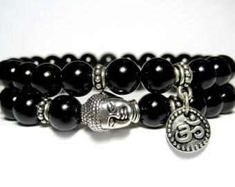 Black Onyx Buddha Bracelet, Onyx Om Bracelet, Mens Beaded Bracelet, Bracelet Set, Yoga Bracelet, Mala Bracelet, Stretch Bracelet