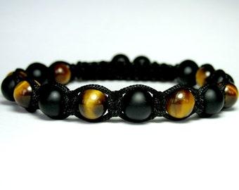 Tiger Eye Bracelet, Matte Onyx Bracelet, Mens Beaded Bracelet, Mens Shamballa Bracelet, Gift for Men, Gemstone Bracelet