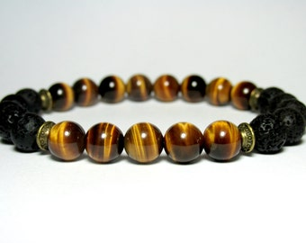 Tiger Eye and Lava Mala Bracelet, Beaded Bracelet, Mens Jewelry, Womens Jewelry, Boyfriend Gift, Girlfriend Gift, Meditation Mala