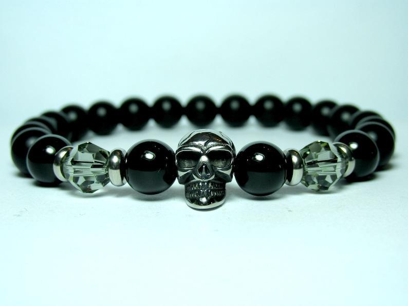 Mens Gift for Men Mens Onyx Skull Bracelet Mens Skull Bracelet Stainless Steel Bracelet Bracelet for Men Mens Beaded Bracelet for Men