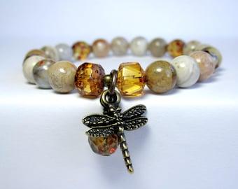 Jasper Dragonfly Bracelet, Nature Bracelet, Ladies Beaded Bracelet, Charm Bracelet, Stretch Bracelet, Gift for Her, Brown Bracelet