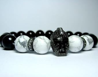 Mens Helmet Bracelet, Beaded Bracelet, Spartan Bracelet, Gladiator Bracelet, Onyx Bracelet, Howlite Bracelet, Bracelet for Men