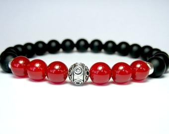 Carnelian Bracelet, Mens Beaded Bracelet, Matte Onyx Bracelet, Mens Jewelry, Birthday Gift for Men, Mens Silver Bracelet