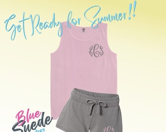 ac2213b293c94 Monogrammed Comfort Color Shorts and Tank Set - Personalized Cotton Shorts