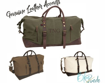 Weekender Bag for Men - Canvas and Leather, Gift for Him, Groomsmen Gift, Groomsmen Bag, Canvas Travel Bag, Carry On Bag