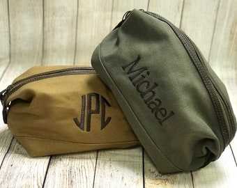 Canvas with Leather Accent Toiletry Bags - Groomsmen Gift, Groomsmen Bag, Military Style, Dopp Bag, Men's Toiletry Bag