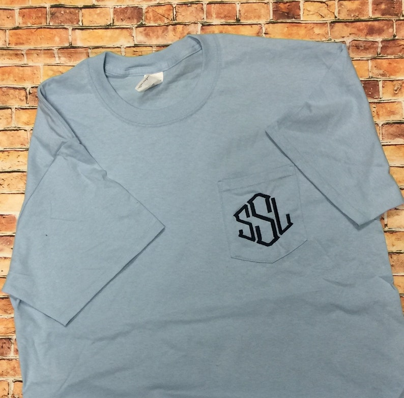 ac6f1e65 Comfort Color Monogram Pocket Tee Personalized tshirt   Etsy