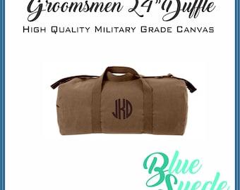 "Canvas Duffel Bag 24"" - Groomsmen Gift | Groomsmen Bag | Military Style | Canvas Travel Bag | Carry On Bag"