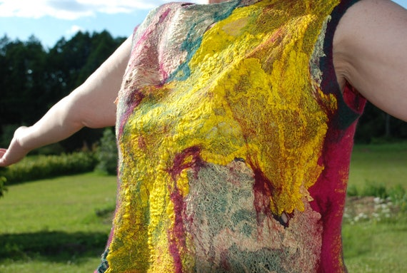 Felted Top Short merino Women riginal Nunofelted Felted Vest Vest Top Gauze Top Art Silk rt Wearable wool Funny Vest margilan PxSIq