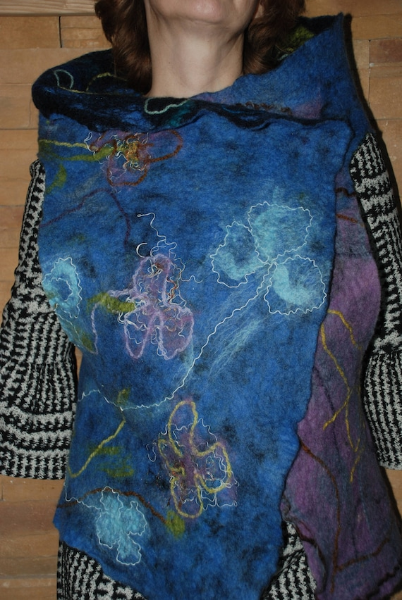 Art felt Merino Wool Double Felted winter Vest sided Crazy Vest Women Felted zq1gZ
