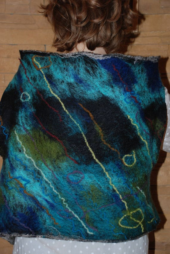Felted art Women Wearable vest wool original vest Merino wfrqaw