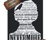 Nevermore Poe Sign Printable Digital Black White Print Steampunk Edgar Allan Poe Silhouette The Raven Quote Typography Victorian Goth Art