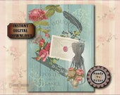 "Dress Form Junk Journal Sheet Printable JPG ~ Victorian Scrap Roses, Feather, Alice's ""Drink Me"", Postes ~ Shabby Aqua Barn Wood Background"