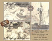 Tea Bag Note Card Printable ~ Cup of Tea Digital File ~ 3 Victorian Steampunk Cards ~ Affix Tea Bag Here ~ Gift Tag, Wedding Favors ~ Ship