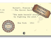Fight the Wind Card Catalog Francis Burnett Book Quote Note Card, Gift Tag, Hang Tag, Junk Journal Embellishement ~ The Secret Garden JPG