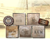 "5 Rum Crate Labels Printable PDFs ~ 12X12"" Aged Paper Images ~ Prohibition, Caribbean Sailor Strength, Jamaican, Barbados, Martinique Props"