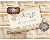 Speakeasy Table Card & Place Cards Set~ JPG Digital Files ~ The Siren Club Pass Prohibition Roaring 20s Gatsby Party Wedding~ Member Name