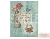 "Cats ""Tea Time"" Junk Journal Sheet Printable JPG ~ Victorian Scrap Roses, Clock, Girl, Mad Hatter Quote ~ Shabby Aqua Barn Wood Background"