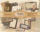 LUNATIC ASYLUM Scrapbook Ephemera ~ 24 Piece 5 JPGs ~ 20 Junk Journal Clip Art 4 Background Sheets ~ Rat, Poe Quote, Medicine, Barred Window