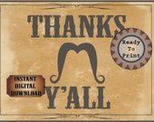 THANKS Y'ALL Sign Printable File ~ Wild West Aged Buffet Table ~ Kids' Cowboy, Bachelor, Wedding, Film, TV Premiere Viewing Party Decoration