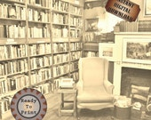 Book Shop Printable Sheet ~ 12X12 Scrapbook Junk Journal Paper JPG ~ Old Fireplace, Wing-back Chair, Bookshelves, Aged Sepia Gift Wrap