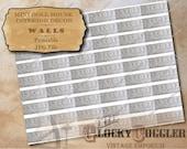 "Tin Tile Border Dollhouse 1:12 Scale Printable 11X8.5"" JPG ~ White Shabby Victorian Strips Rustic Metal Trim Images ~ Miniature Wall Decor"