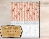 "Wall Panel Dollhouse 1:12 Scale Printable 11X8.5"" JPG ~ Shabby Pink Stripe Roses Wainscot Tin Tile Border White Trim ~ Miniature Wallpaper"