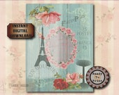 Eiffel Tower Junk Journal Sheet Printable JPG ~ Boho Victorian Scrap Roses, Bird Bath, Vintage Font Text ~ Shabby Aqua Barn Wood Background