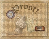 Prost! Bierstein Sign Printable JPG PDF Set ~ 5 Sizes Old World German Oktoberfest ~ Aged Paper Ivy Border Black Sepia Harlequin Background