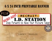 Spy Secret Agent Banner Digital MURDER MYSTERY Detective Party Props ~ Printable PDF ~  Photo Booth Sign Escape Room Recruit I.D. Station