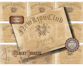 Speakeasy Table Card & Place Cards Set ~ JPG Digital Files ~ New Lion Club Prohibition Era Roaring 20s Gatsby Party Wedding ~ Member Names