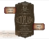 ECTOPLASM Bottle Label Halloween Sublimation Fabric Transfer Image Cutting 5 Files svg, pdf, png, eps, dxf Victorian Goth Apothecary Jar Tag