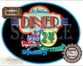 "50s DINER Cake Topper Printable JPG ~ 8X10"" Oval 1950s Retro Drive-in Restaurant ""24 HOURS"" Blue Yellow Green Red Party Decor Classic Cars"