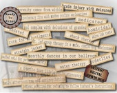 Asylum Typography 3 Printable Files, 65 Mental Hospital Related Words & Phrases, Invitation or Junk Journal Embellishments 8.5X11 Aged Paper