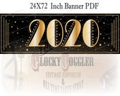 2020 Sparkly Gold Printable Banner ~ PDF File ~ 24X72 Inch New Year's Eve Party Decor ~ Art Deco Star & Black Gatsby Style Sign Download