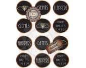 Prohibition Cupcake Toppers Flappers Gents Art Deco Gatsby Era Headpiece Speakeasy Roaring 20s Cake Topper Round Tags Wedding Party Decor