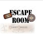 ESCAPE ROOM Printable Stencil Image ~ jpg File ~ Digital Download DIY Adventure Puzzle Riddle Party Guest Favor Craft ~ Uncut Stencil Text